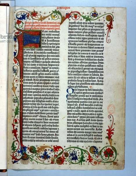Page from the Gutenberg Bible, Mainz, c.1455 (vellum)