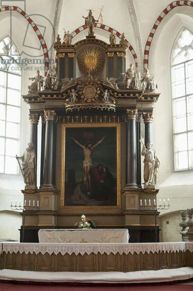 Crucifixion Painting in the Interior of the St Mary's Cathedral in Tallinn, Estonia (photo)