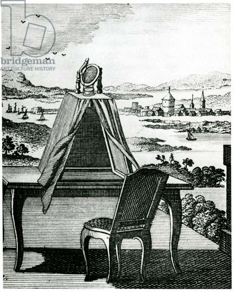 Portable tent type of camera obscura placed on a table so that it could be used to draw the landscape projected down onto sheet of white paper on table. From The Complete Dictionary of Arts and Sciences, edited T.H. Crocker, T. Williams and S. Clarke, London, 1764. Engraving