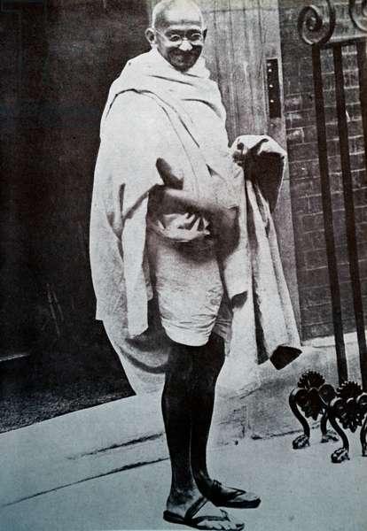 Mahatma Gandhi at number 10, Downing Street, London.