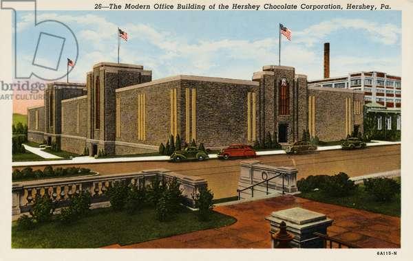 Office Building of Hershey Chocolate Corporation, Hershey, Pennsylvania, c.1936 (colour litho)