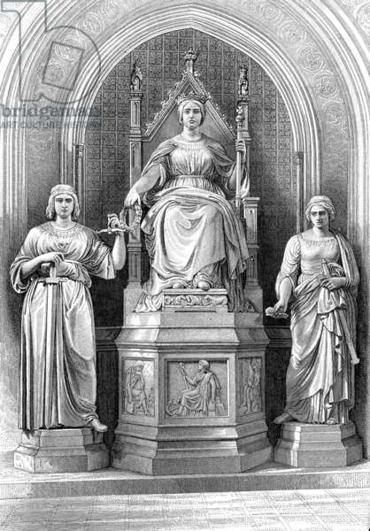 A marble statue of Queen Victoria