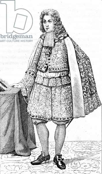 Louis Duc De Bourgogne, French vintage clothes XVI century Luis kingdom XIV