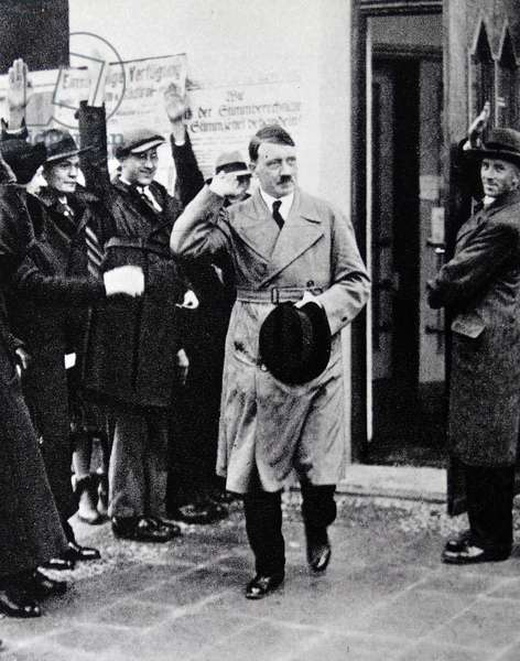 Adolf Hitler greeted by supporters