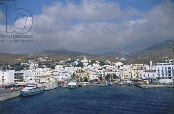 View of Tinos town and the small harbourfront.