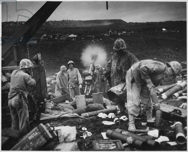 Shells on the Black Sands of Iwo Jima (b/w photo)