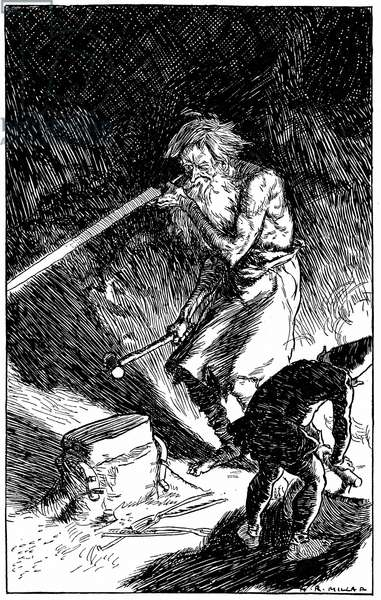 Puck helping Wayland, Smith of the Gods, to forge a sword for the novice who, by sincerely wishing him well, released him from the spell which bound him. Engraving from Puck of Pook's Hill by Rudyard Kipling, (London, 1909).
