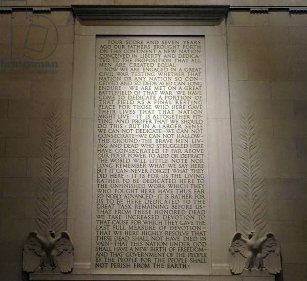 Abraham Lincoln's Gettysburg Address inscribed on a wall of the Lincoln Memorial
