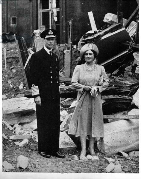 George VI (1895-1952) and Queen Elizabeth (1900-2002) standing among the bomb damage at Buckingham Palace, London.  During the Blitz, the German bombing of London in World War II, between 7 September 1940 and 10 May 1941 the Palace was bombed seven times.