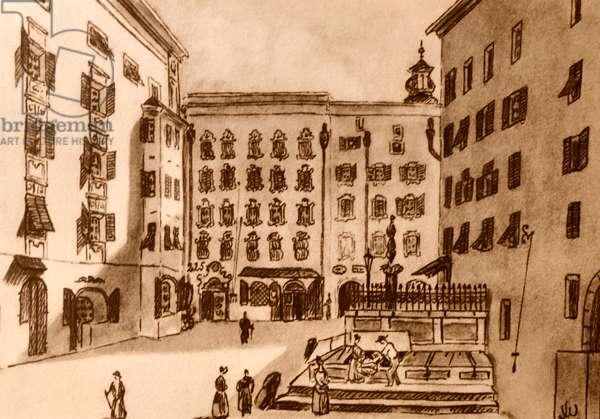 Drawing of Lochelplatz, in Salzburg, Austria where Mozart was born
