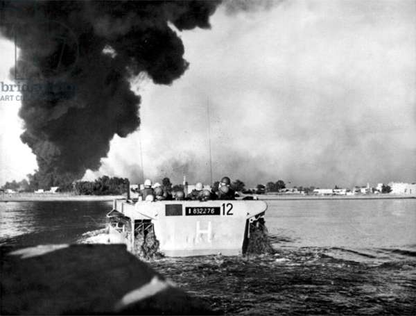French commandos going ashore in an amphibious tank at Port Fuad, 1956