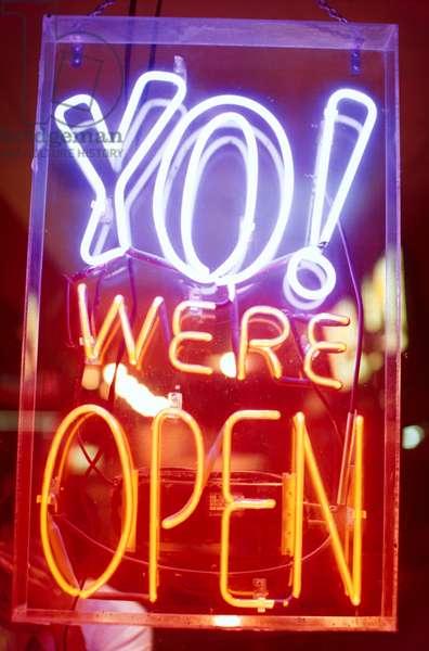 """Florida, Miami Beach. Neon Sign  """"Yo! We'Re Open"""""""