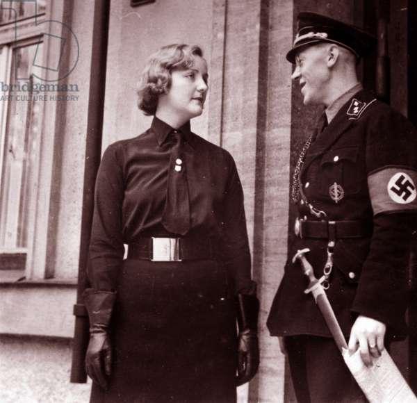British fascist, Unity Mitford, in Blackshirt uniform with Fritz Stadelmann