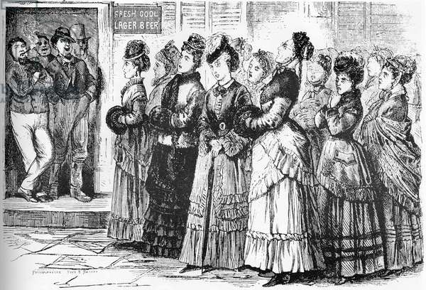 USA History: American mores. The whiskey war in Ohio. Women singing hymns at the door of a cabaretier to force him to close shop.
