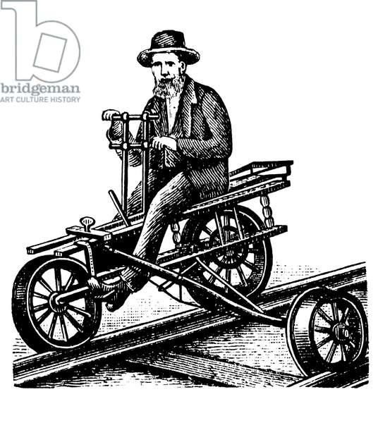Velocipede or draisine, historical wood engraving, circa 1888 ©Uig/Leemage