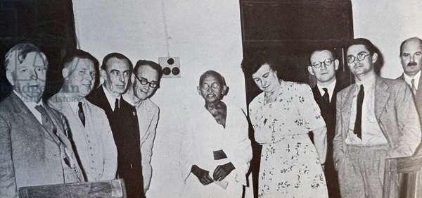 Mohandas Karamchand Gandhi with a British Parliamentary delegation in Madras 1946