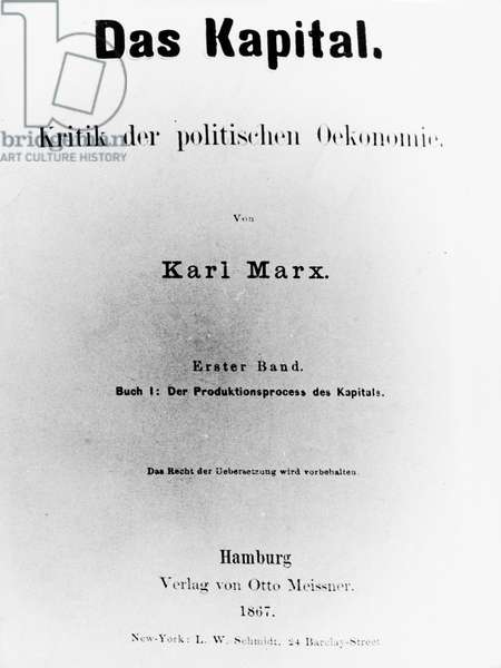 The Title Page of the First German Edition of 'Das Kapital' by Karl Marx (Hamburg, 1867).