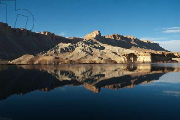 Hindu Kush Mountains Reflections in Band-I-Haibat (Dam of Awe), Band-I-Amir, Bamian Province, Afghanistan (photo)