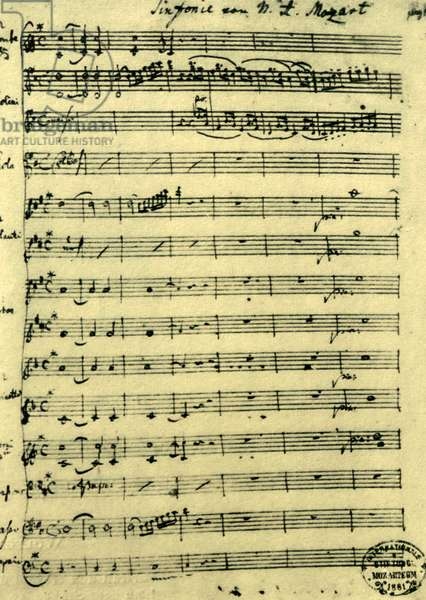 Manuscript of the Symphony No  31, known as the Paris Symphony, by Mozart
