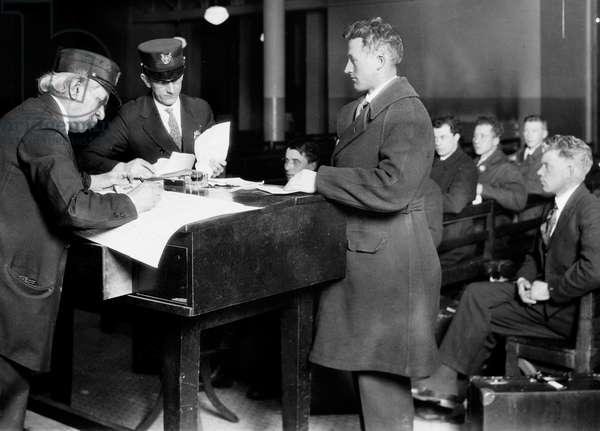 Processing of immigrants, Ellis Island, New York City (b/w photo)