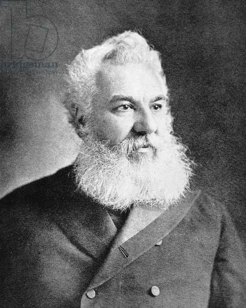 Alexander Graham Bell, telephone inventor (b/w photo)