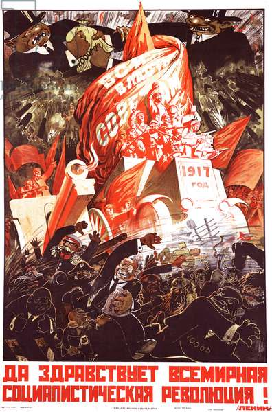 Russian Soviet propaganda poster marking the 1917 revolution showing fleeing bankers