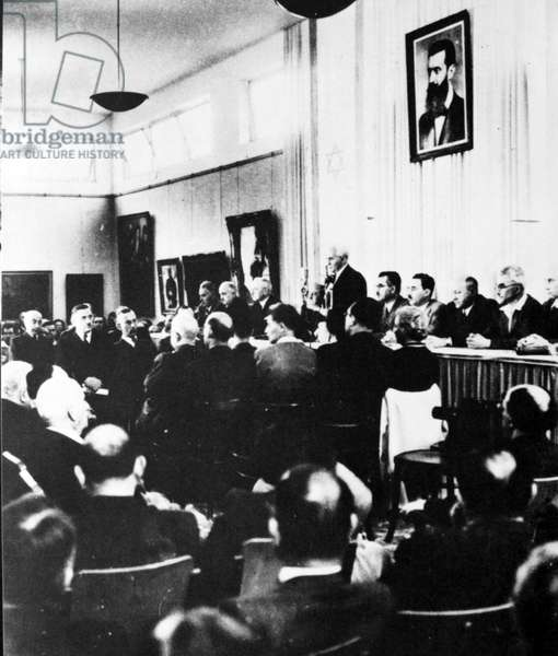 The Israeli Declaration of Independence, proclaimed on 14 May 1948 by David Ben-Gurion