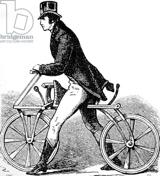 Karl von Drais riding his Velocipede (Hobby Horse) bicycle