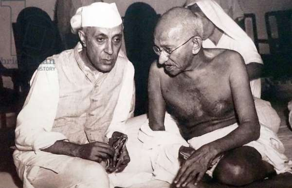 Pandit Jawaharlal Nehru with Mohandas Karamchand Gandhi, India