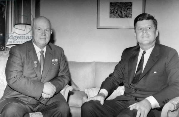 Nikita Sergeyevich Khrushchev And John Fitzgerald Kennedy At The Us Embassy In Vienna