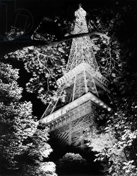 Eiffel Tower At Night, Paris, France, c.1962 (b/w photo)