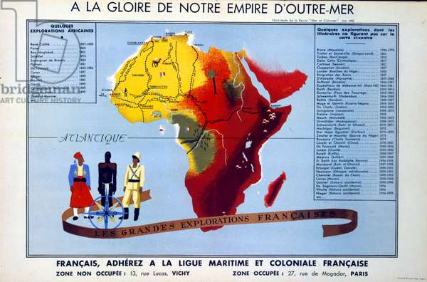 French World War two propaganda poster based on the French Empire. delivering a message of patriotic hope to the French people from Vichy leader Marshall Philippe Petain. circa 1941
