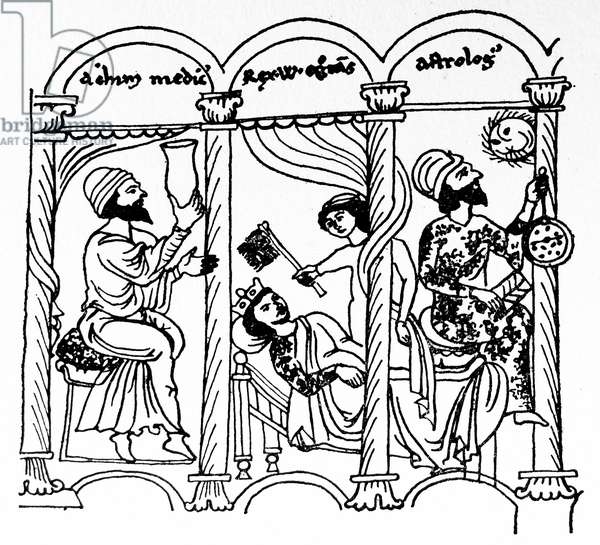 Line drawing of William of Sicily being treated by his Arab doctor and astrologer