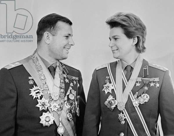 Cosmonauts Yuri Gagarin And Valentina Tereshkova In Moscow : Cosmonauts Yuri Gagarin and Valentina Tereshkova in Moscow, Russia, 02/12/67 ©ITAR-TASS/UIG/Leemage