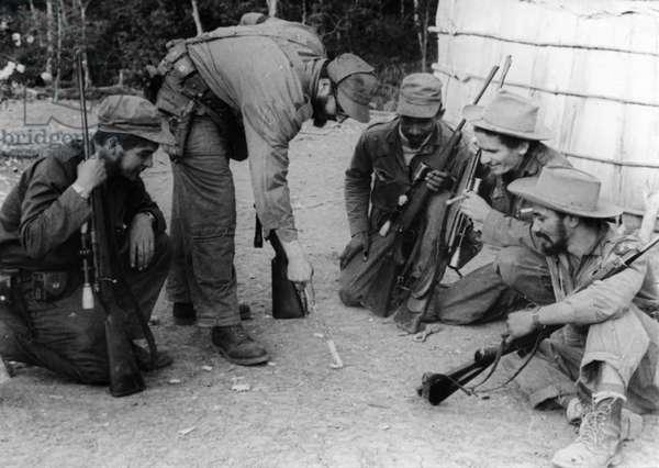 Ernesto Che Guevara, Fidel Castro Ruz, Calixto Garcia, Ramiro Valdes Menedez, And Juan Almeida Bosque At Sierra Maesta During The Cuban Revolution.