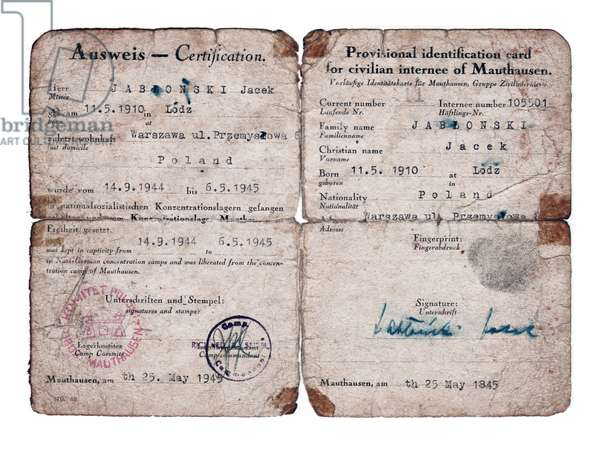 World War Two Post-Liberation Identification Paper
