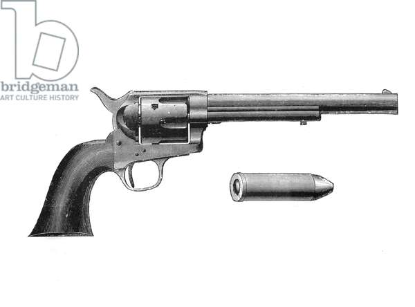 Colt Frontier revolver. Also known as the Colt Peacemaker. After Mexican War of 1846-1848, was adopted by the US Army. Engraving, c 1890.