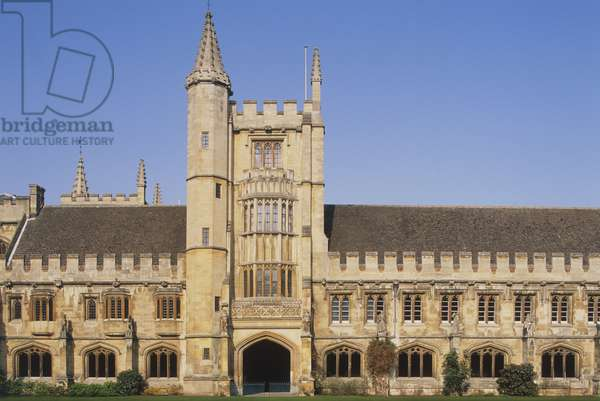 Great Britain, Oxford, England, Magdalene College, facade and entrance dating from 15th century