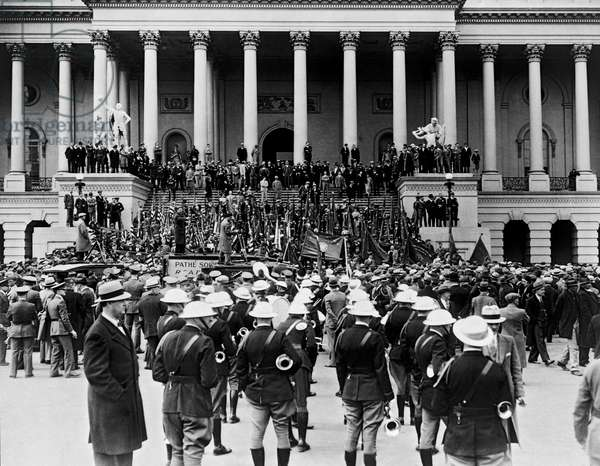 Expeditionary Force At Capitol (b/w photo)