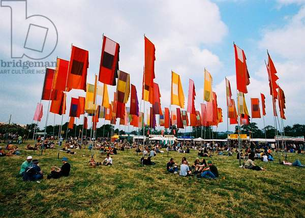 Flags at a music festival