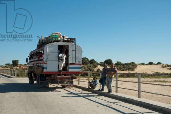 Bus on A Bridge Over Fiherenana River, North of Toliara, Madagascar (photo)