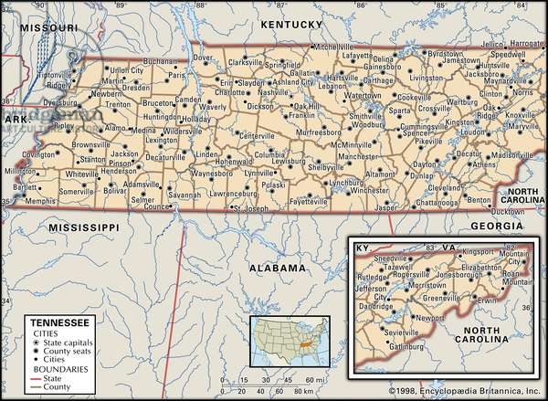 Political map of Tennessee