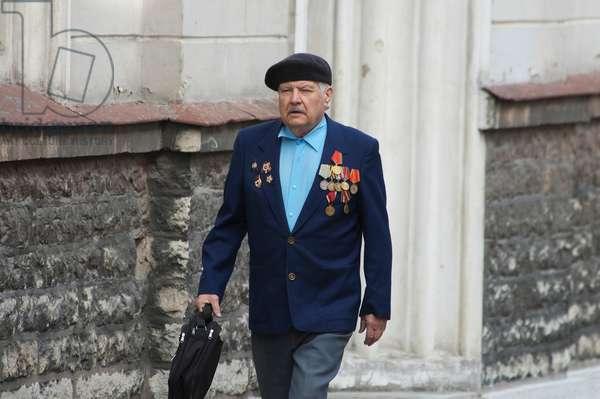 Senior Male War Veteran in Tallinn, Estonia (photo)