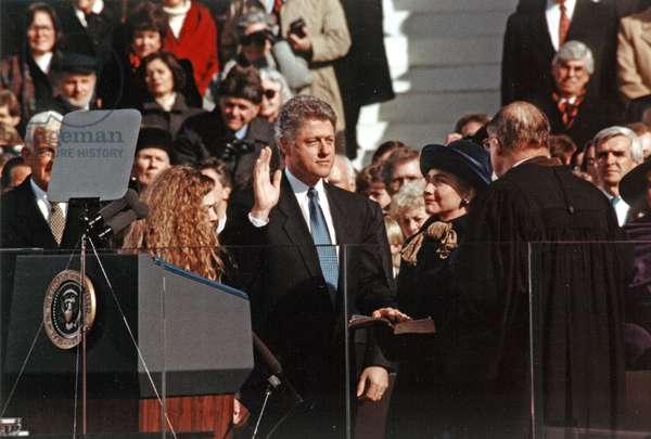 US president Bill Clinton, taking the oath of office