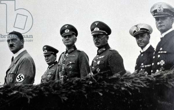 Senior naval and army  commander with Adolf Hitler on manoeuvres 1935