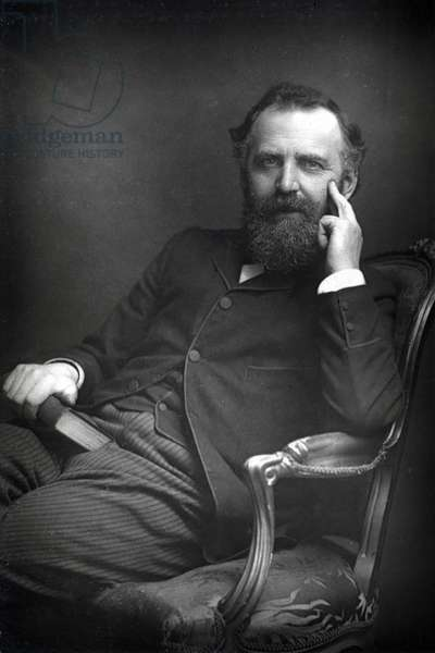 William Thomas Stead (1849-1912) English author and journalist, c1890. Editor Northern Echo (1871-1880) and Pall Mall Gazette (1883-1890).  He exposed the scandal of child prostitution in London.  Drowned in sinking of SS Titanic, 14 April 1912.  From The Cabinet Portrait Gallery. (London, 1890-1894).   Photograph. Woodburytype.