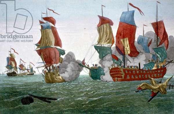 American Revolutionary War: Battle of Flamborough Head, East Yorkshire, England, 22 Sept. 1779, between the American John Paul Jones and British vessel 'Serapis' under Capt. Richard Pearson. Jones captured 'Serapis. Print 1780.