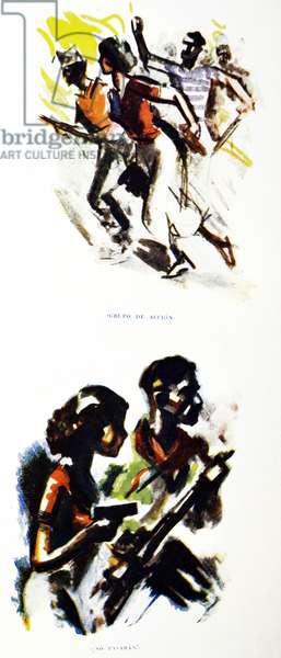 Spanish Civil War: drawings depicting Republican militia in Spain