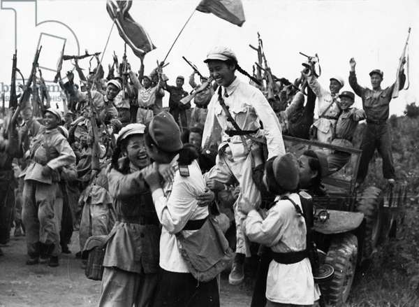 Korean War. Units of the Korean People's Army and the Chinese People's Volunteers celebrating their joint defeat of an attack by US forces. 1953
