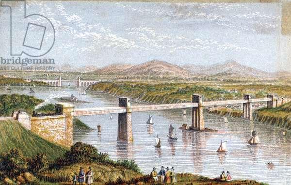 Britannia Tubular Bridge over Menai Straits, Wales: Chester and Holyhead Railway. Begun 1846, opened 18 March 1850. Engineer: Robert Stephenson. Box Girder Bridge. From a Baxter needlebox print. Oleograph.
